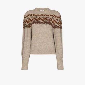 Chloé Brown Fair Isle Knit Pouf Sleeve Sweater