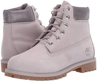 Timberland Kids 6 Premium Waterproof Boot (Big Kid) (Light Grey Nubuck) Girls Shoes