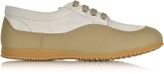 Hogan Traditional Beige Canvas and Leather Low-top Sneaker
