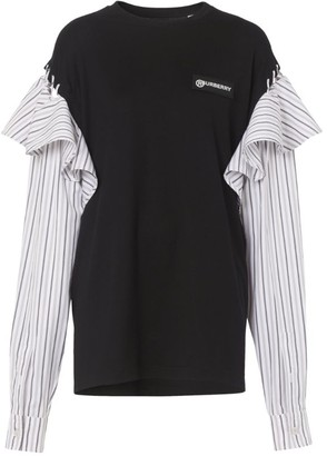 Burberry Striped Sleeve Logo Top