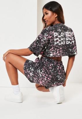 Missguided Playboy X Black Acid Wash Zip Through Crop T Shirt