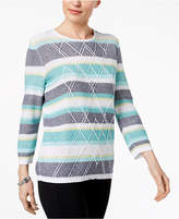 Alfred Dunner Montego Bay Textured Studded Sweater