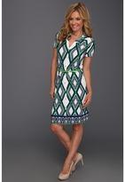 Anne Klein Petite - Petite Lattic Print Belted Dress (Lawn Multi) - Apparel