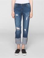 Calvin Klein Boyfriend Fit Destructed Cuffed Jeans