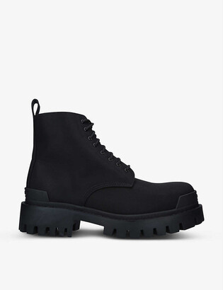 Balenciaga Strike lace-up woven ankle boots