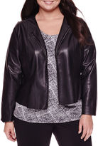 WORTHINGTON Worthington Long-Sleeve Faux-Leather Peplum Jacket - Plus