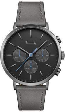 Uri Minkoff Griffith Gunmetal Tone Leather Watch, 43MM