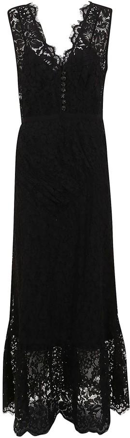 Self-Portrait Diamante Buttoned Sleeveless Midi Dress