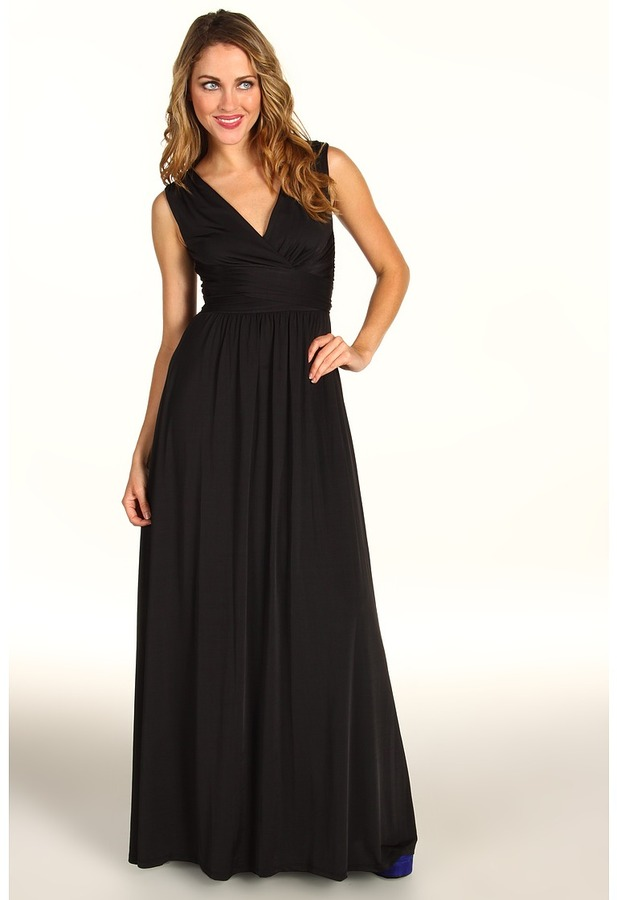 Max & Cleo Melissa Satin Jersey Gown (Black) - Apparel