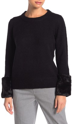 Catherine Malandrino Faux Fur Cuff Pullover Sweater (Petite)
