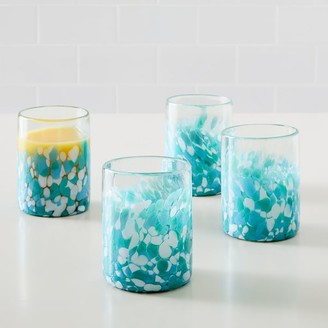 west elm Mexican Confetti Double Old Fashioned Glasses - Blue (Set of 4)