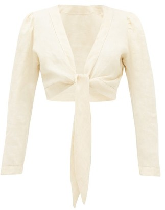 Lisa Marie Fernandez Tie-front Puff-sleeve Linen Blouse - Womens - Beige