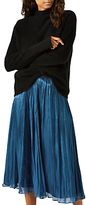 Jigsaw Pleated Iridescent Midi Skirt, Dark Petrol