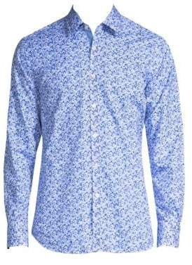 Canali Floral-Print Cotton Button-Down Shirt