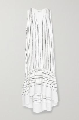 3.1 Phillip Lim Tiered Striped Silk Midi Dress - White