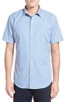 Bugatchi Men's Shaped Fit Short Sleeve Jacquard Check Sport Shirt