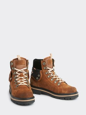 Tommy Hilfiger Lace-Up Mixed Texture Boots