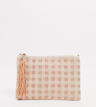 Accessorize gingham beaded clutch with chain in pink