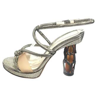 Fendi Silver Leather Heels