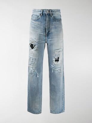 Balenciaga High-Waist Distressed Jeans