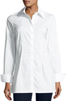 Neiman Marcus Button-Front Cotton Long-Sleeve Blouse, White