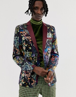 Asos Edition EDITION skinny blazer in purple floral patchwork velvet