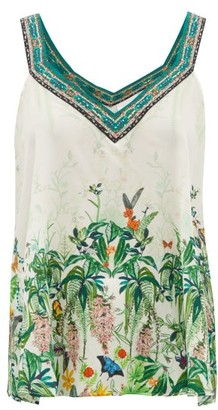 Camilla Daintree Dreaming Forest-print Silk Camisole - White Print