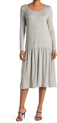 Dual Nature Drop Waist Long Sleeve Midi Dress