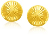 Ice 14K Yellow Gold Textured Flat Style Stud Earrings