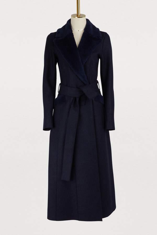 Harris Wharf London Wool long coat with faux fur collar