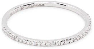 Le Gramme 18kt White Gold 1g Diamond Half Pave Ring