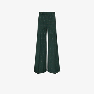 Gucci Pinstripe Logo Wool Flared Trousers