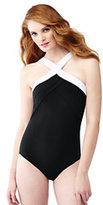 Classic Women's Shaping High-neck One Piece Swimsuit-Deep Sea Stripe