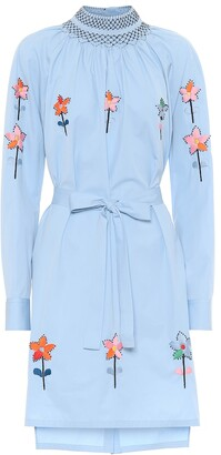 Prada Embroidered cotton-poplin minidress