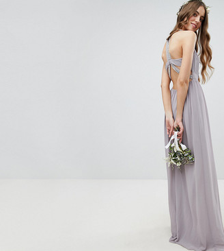 TFNC Tall Tall Embellished Back Detail Maxi Bridesmaid Dress-Grey