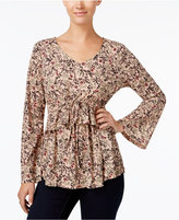 Style&Co. Style & Co Printed Peplum-Waist Top, Created for Macy's