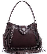 Dasein Brown Studded Fringe-Accent Hobo