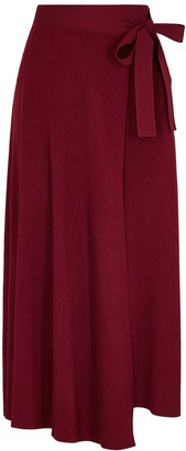 Live The Process Burgundy ribbed-knit wrap skirt