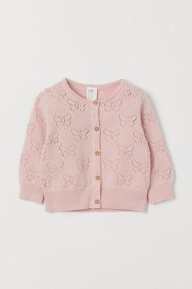 H&M Pointelle-knit Cardigan - Pink