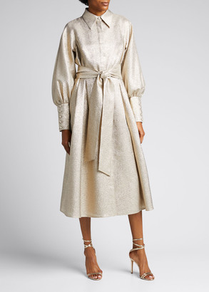 Rickie Freeman For Teri Jon Metallic Jacquard Puff-Sleeve Shirt Dress