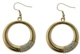 Stone Drop Hoop Earrings - Gold