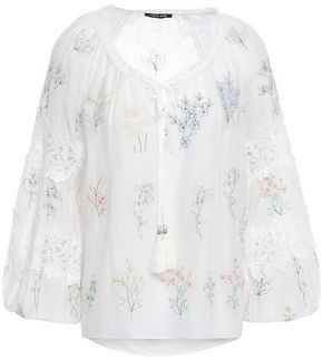Love Sam Lace-trimmed Embroidered Cotton And Silk-blend Blouse