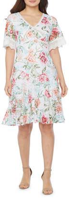 Rabbit Rabbit Rabbit Design Short Sleeve Floral Lace Fit & Flare Dress