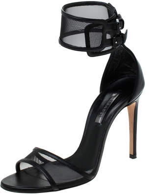 Casadei Black Mesh and Leather Open Toe Double Buckle Ankle Strap Sandals Size 36
