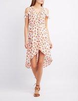 Charlotte Russe Floral Ruffle-Trim Cold Shoulder Wrap Dress