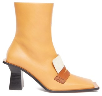 Loewe Oversized-sole Square-toe Leather Boots - Womens - Tan Multi