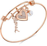 "Unwritten Rose Gold-Tone ""Loved"" & Crystal Heart Adjustable Bangle Bracelet in Stainless Steel"