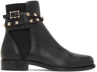 Valentino Black Cross Rockstud Strap Ankle Boots