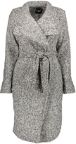 Gray Heather Tweed Wrap Coat