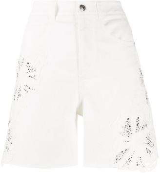 Ermanno Scervino Rhinestone-Embellished Denim Shorts